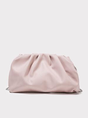 Sac pochette avec fronces rose poudree femme
