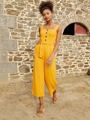 Combinaison pantalon ceinture jaune fonce femme