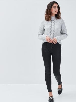 Jeans skinny boutonne denim noir enduit femme