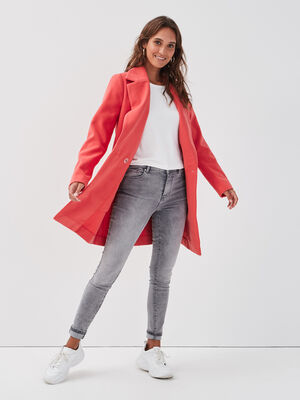 Manteau cintre col crante rose corail femme