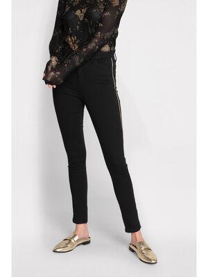 Pantalon skinny a bandes denim noir femme