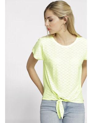 T shirt manches courtes jaune clair femme