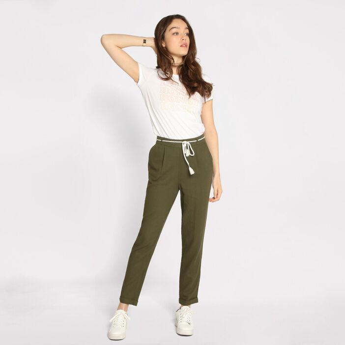 5ad38291bf662 ... Pantalon droit ceinture vert kaki femme ...