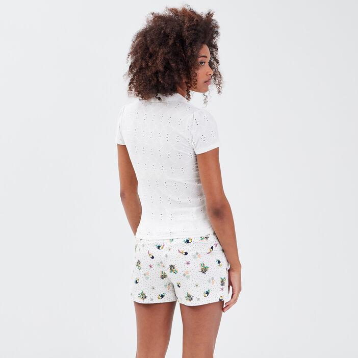 Polo manches courtes blanc femme