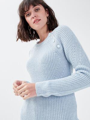 Pull avec boutons bleu pastel femme