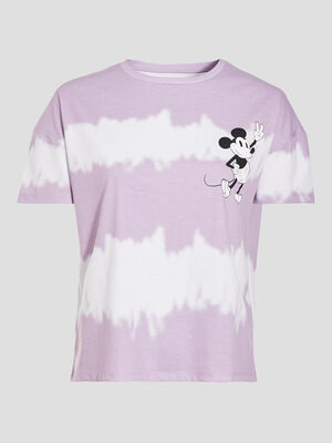 T shirt manches courtes Mickey parme femme