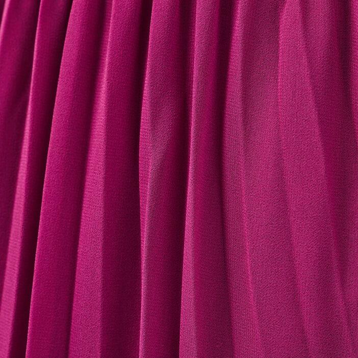 Jupe longue évasée plissée violet foncé femme