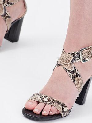Sandales a talons carres sable femme