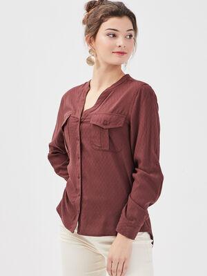 Chemise manches longues marron femme