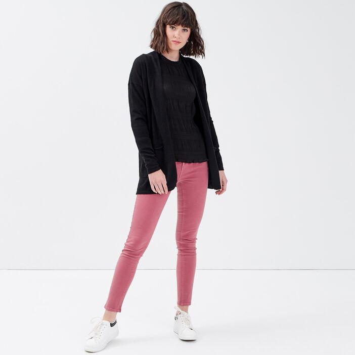 Jeans slim 5 poches vieux rose femme
