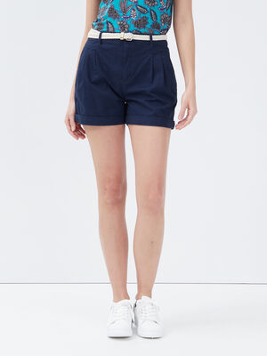 Short chino ceinture bleu marine femme
