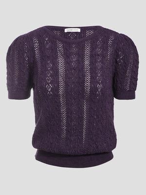 Pull manches courtes ajoure violet fonce femme