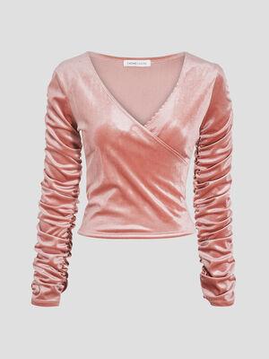 T shirt manches longues rose pastel femme