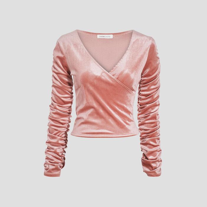 T-shirt manches longues rose pastel femme