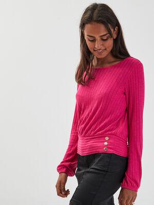 T shirt manches longues cotele rose fushia femme