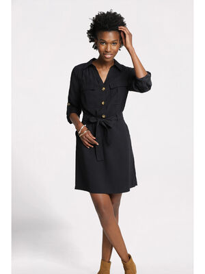 Robe fluide boutonnee noir femme