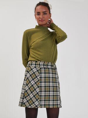 T shirt manches longues cotele vert olive femme