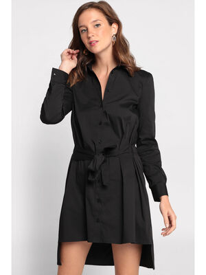 Robe chemise manches longues noir femme