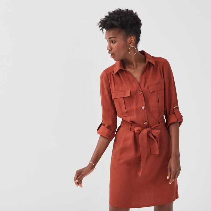 Robe droite ceinturée marron cognac femme