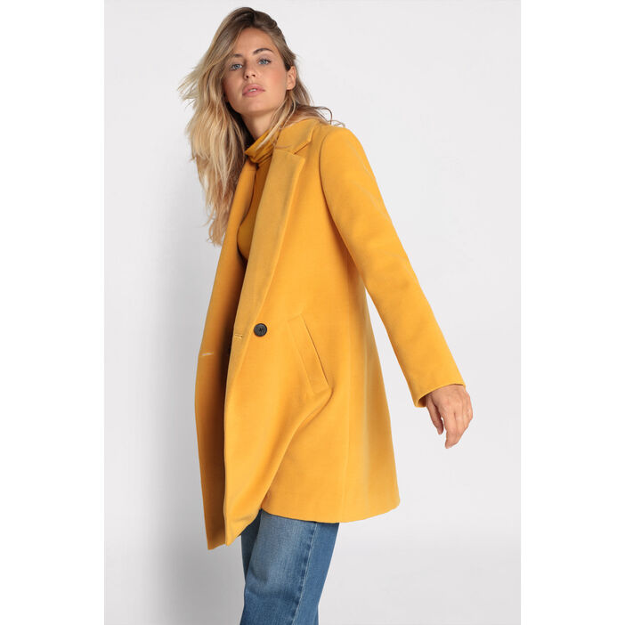 bien acheter mieux en gros Manteau cintré col cranté jaune moutarde femme | Vib's