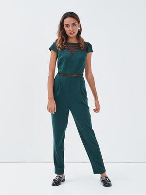 Combinaison pantalon droite vert fonce femme