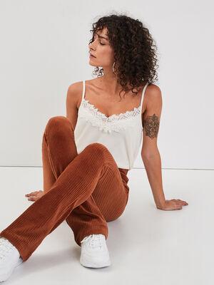 Pantalon bootcut velours marron cognac femme