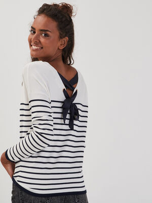 Pull col rond dos ouvert bleu marine femme