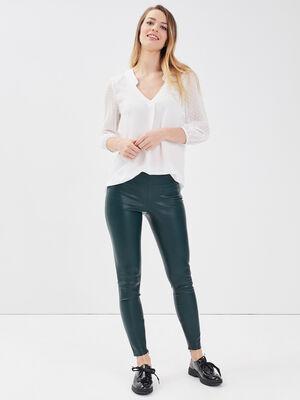 Legging similicuir vert kaki femme
