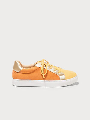 Baskets plates jaune moutarde femme