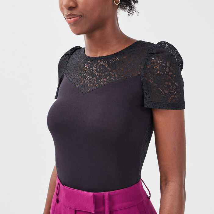 Body manches courtes noir femme