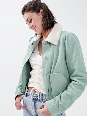 Veste droite velours cotele vert pastel femme