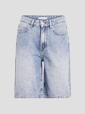 Bermuda mom en jean denim bleach femme