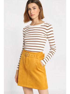 Jupe droite suedine a ceinture jaune moutarde femme