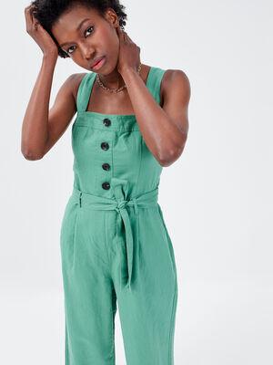 Combinaison pantalon ceinture vert clair femme