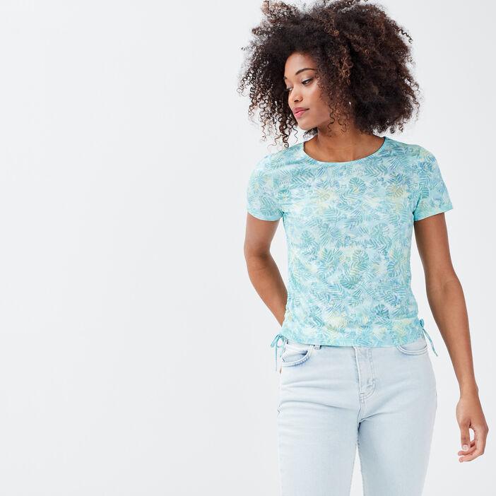 T-shirt manches courtes bleu ciel femme