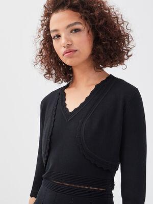 Gilet court bord festonne noir femme