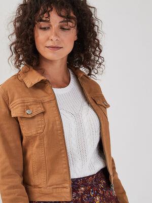 Veste droite courte zippee beige femme