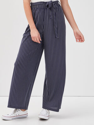 Pantalon large ceinure bleu marine femme