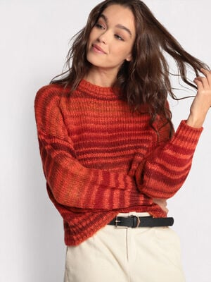 Pull manches bouffantes orange femme
