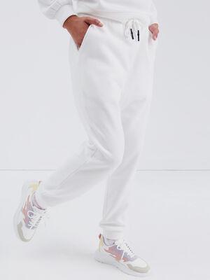 Pantalon jogging molletonne ecru femme