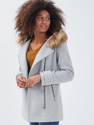 Manteau droit avec capuche gris clair femme