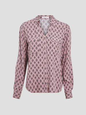 Chemise manches longues prune femme