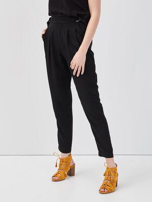 Pantalon carotte noir femme