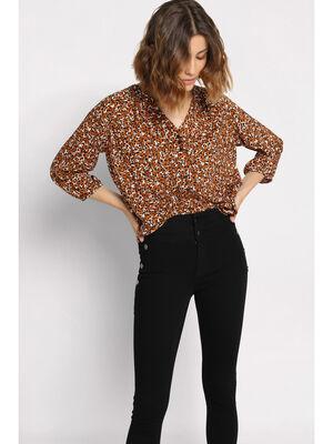 Jeans skinny a boutons denim noir femme