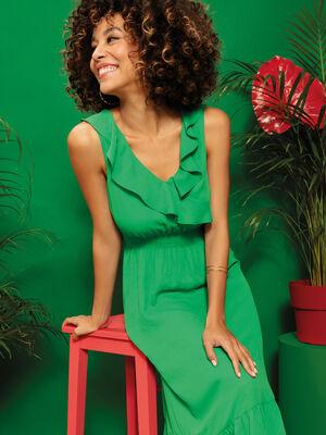 Robe longue evasee volantee vert menthe femme