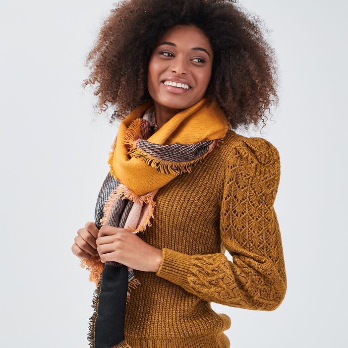 Écharpe jaune moutarde femme