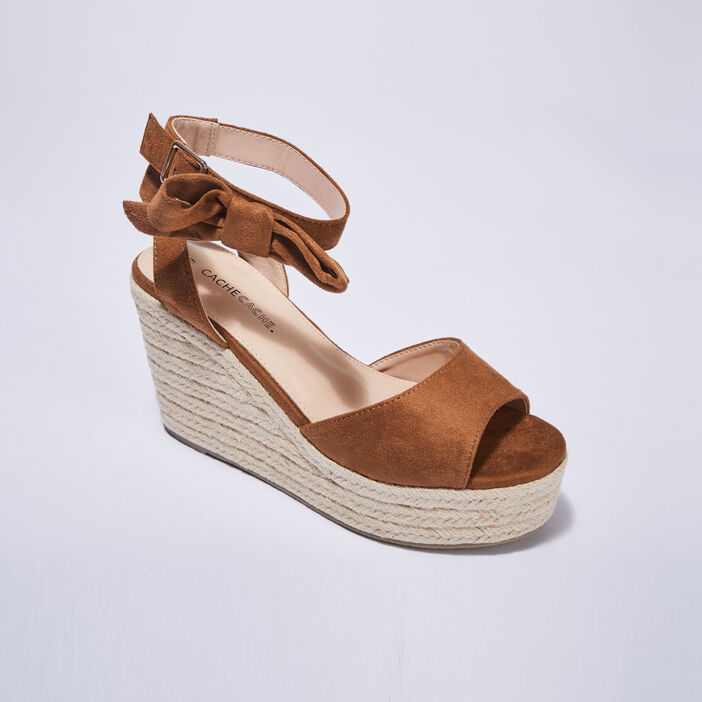 Sandales à talons compensés camel femme