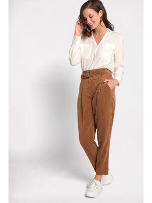 Pantalon carotte velours beige femme