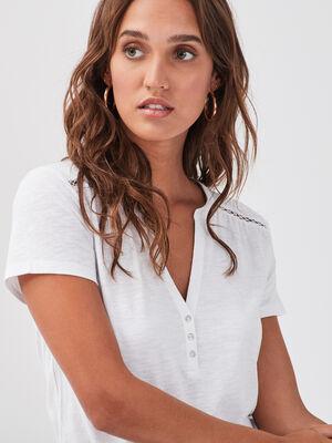T shirt manches courtes ajoure blanc femme