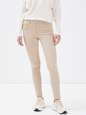 Jeans slim 5 poches sable femme